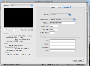QuickTime Broadcast Network Setup for Streaming Video to VLC