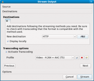 VLC Stream Output Destinations HTTP Add